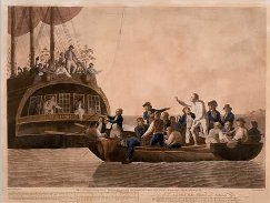 Captain Bligh is set adrift from HMS Bounty