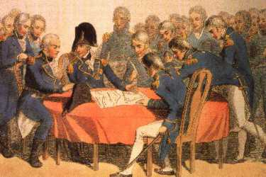 Nelson briefs his officers before the Battle of Trafalgar 21st October 1805