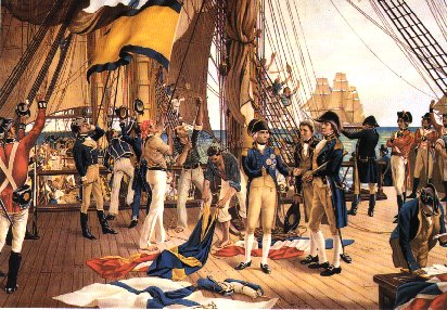 The poop-deck of HMS Victory, noon, 21st October 1805