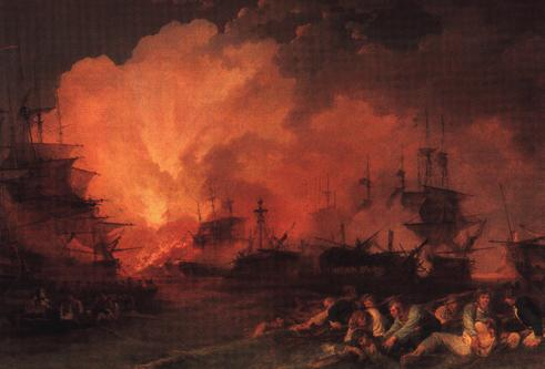 "The French Flagship ""L'Orient"" explodes at the height of the battle"