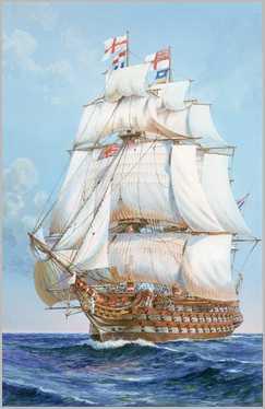 HMS Victory under full sail c1805